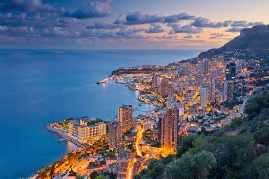 Montecarlo, Monaco, French Riviera, Ligurian Sea, Monte Carlo, Monaco, Cote d'Azur, Ligurian sea, night city, sea, coast, view