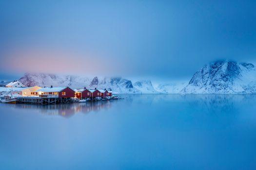 Lofoten, Nordland, Norway, Norwegian Sea, Lofoten, Norway, Norvezhskoe Sea, fьord, sea, the mountains, village, houses