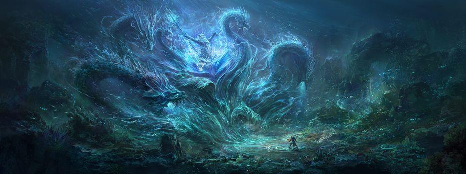 Wang Nan, The sea monster, sea bottom, monster, monster, Neptune, trezubec, human