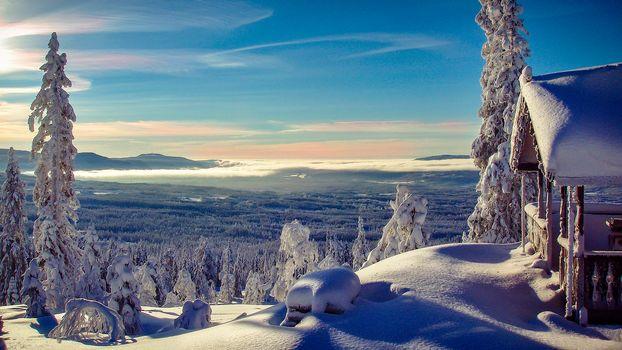 Norwegian Winter, the mountains, winter, trees, landscape