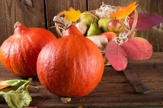 Autumn composition of vegetables and fruits, autumn leaves, basket
