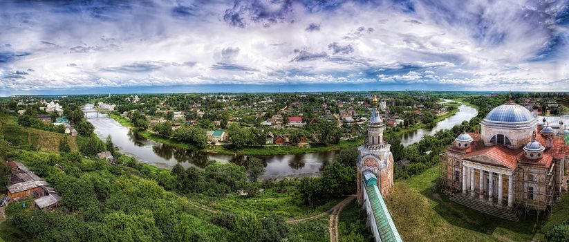 Boris and Gleb Cathedral, Monastery in Torzhok, River, landscape, trees, at home, Boris and Gleb Cathedral, Monastery in Torzhok, River, Landscape, Trees, Boris and Gleb Monastery in Torzhok, view
