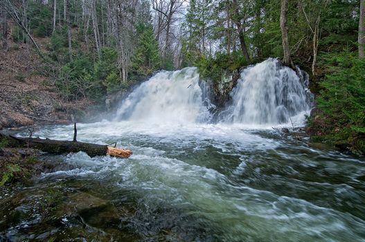 robertson creek falls, vankoughnet township, Ontario, waterfall, forest, trees, nature