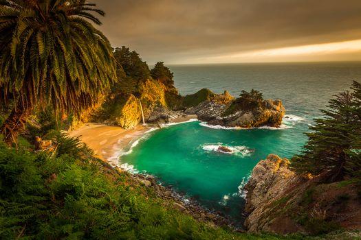 McWay Falls, Big Sur, California, Julia Pfeiffer Burns State Park, sea, ocean, Coast, waterfall, sunset, landscape