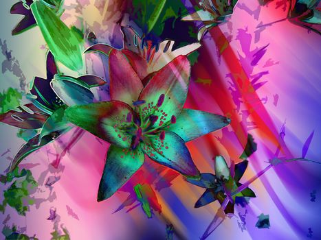 flower composition, abstraction, art