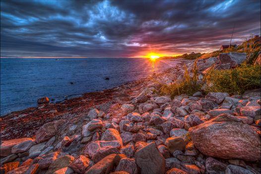 sea, ocean, sunset, Coast, stones, landscape