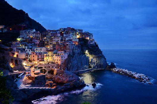 Five lands, Italy, rocks, sea, Manarola, Italy