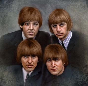 Beatles, ritanskaya rock band from Liverpool, Founded in 1960,, portrait, canvas