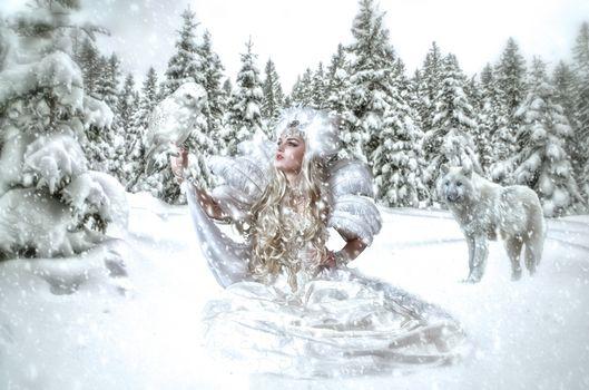 winter, girl, The Snow Queen, wolf, fantasy