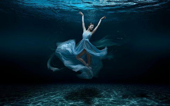 sea, sea bottom, girl ballerina