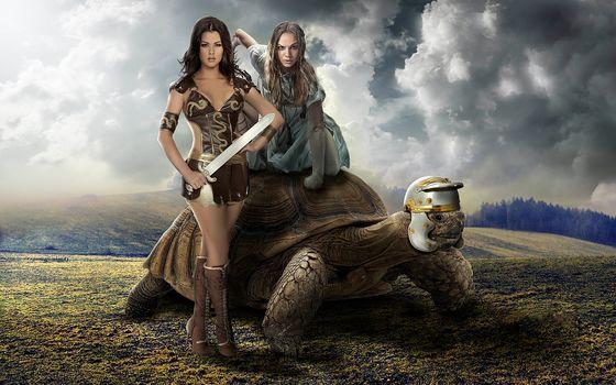 girls, woman-warrior, turtle