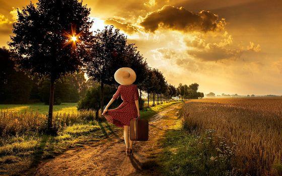 sunset, field, road, trees, girl, landscape