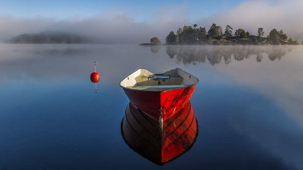 пейзаж, лодка, лодки, водоём, природа, мир, релаксация, река, озеро, рассвет, туман, красный, отражение, утро