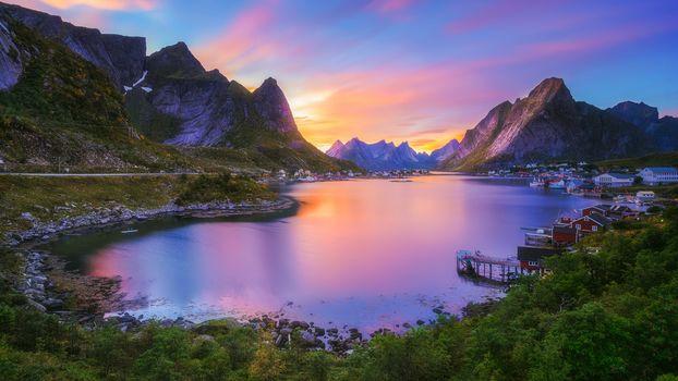 Lofoten, Norway, Lofoten, island, the mountains, rock, houses, water, sky, landscape, nature, view, summer, greenery, sunset, clouds, Coast