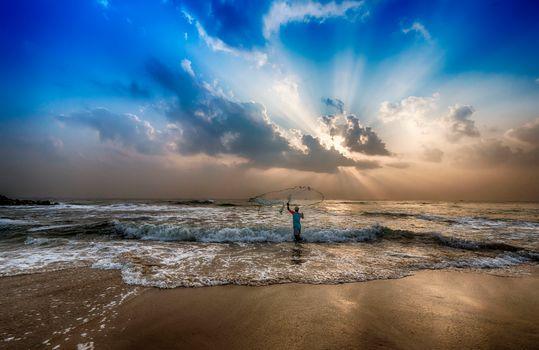Бенгальский залив, India, sunset, sea, ocean, Coast, beach, fisherman, landscape