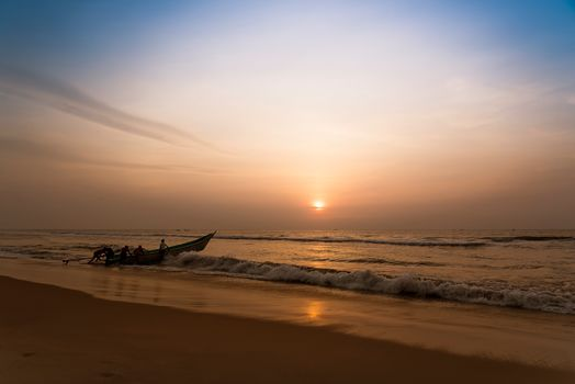 India, sea, ocean, landscape, sunset, a boat, Coast