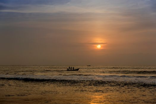 India, sea, ocean, sunset, a boat, landscape