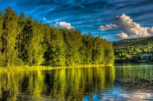 lake, hills, forest, trees, landscape