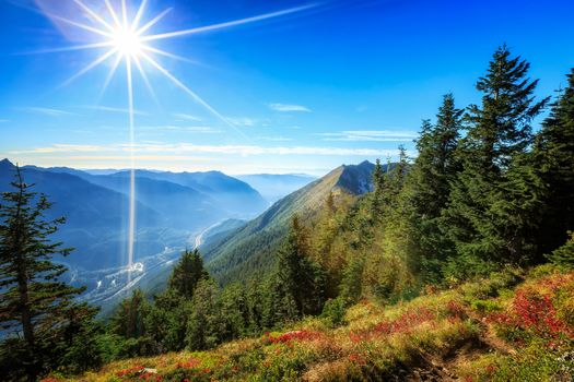 the mountains, trees, the sun, sky, Sun rays, valley, landscape
