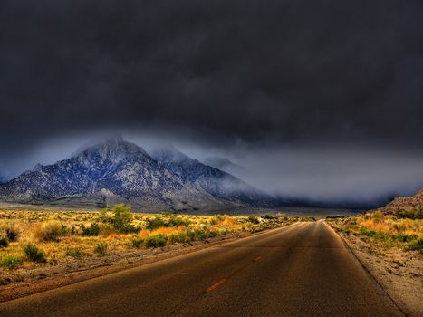Whitney Portal Road, California, road, clouds, the mountains, landscape