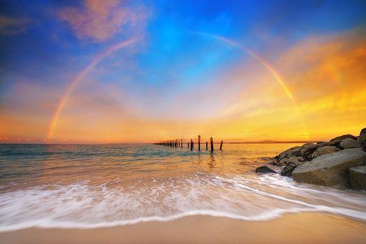 Tasmania, Australia, rainbow, pier, beach, ocean, sand, landscape