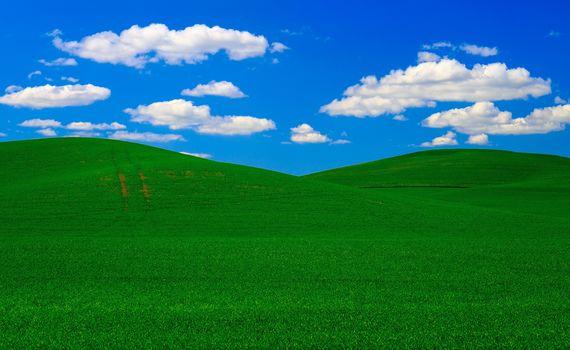 Обои для рабочего стола, поле, небо, холмы, облака, природа