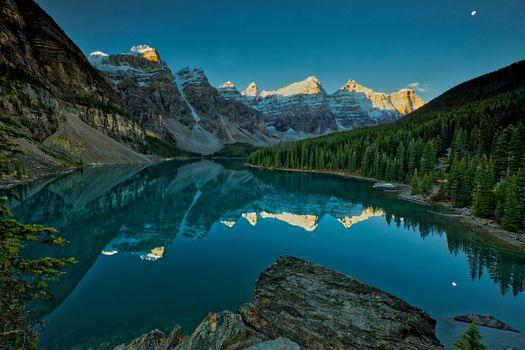 alberta, Banff, Canada, clouds, Lake Moraine, mountains, summer, landscape