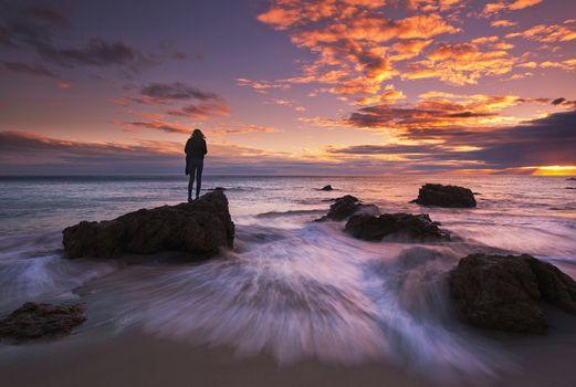 Malibu, California, ocean, Sunset, sea, waves, beach, rock, girl, landscape