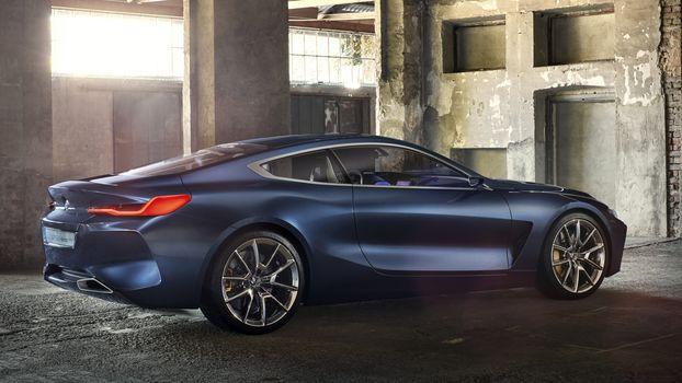 BMW, Концепция BMW 8-Series, 2017, BMW, концепт-кар, машина, купе, свет, помещение