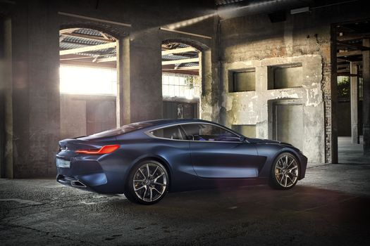 BMW, Концепция BMW 8-Series, 2017, BMW, концепт-кар, помещение, колонны, арки, свет, стены