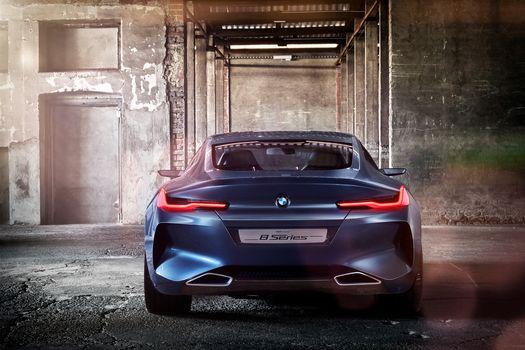 BMW, Концепция BMW 8-Series, 2017, BMW, концепт-кар, сзади, стены, помещение, свет