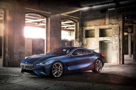 BMW, Концепция BMW 8-Series, 2017, BMW, концепт-кар, помещение, колонны, арки, свод, свет