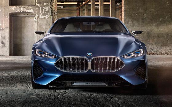 BMW, Концепция BMW 8-Series, 2017, BMW, концепт-кар, перед, помещение, колонны, свет