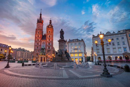 Krakow Market Square at sunrise, Cracow, Poland