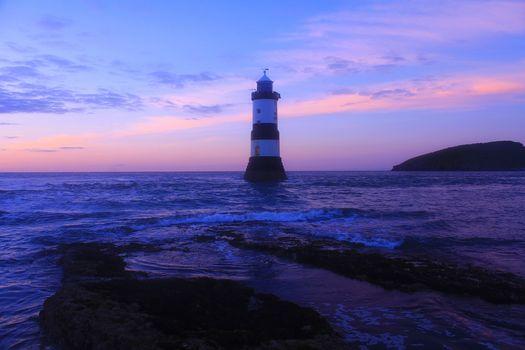 lighthouse, Anglsi, Wales, waves, ocean, sea, Purple, coastline, Britain, United Kingdom, sunset, landscape