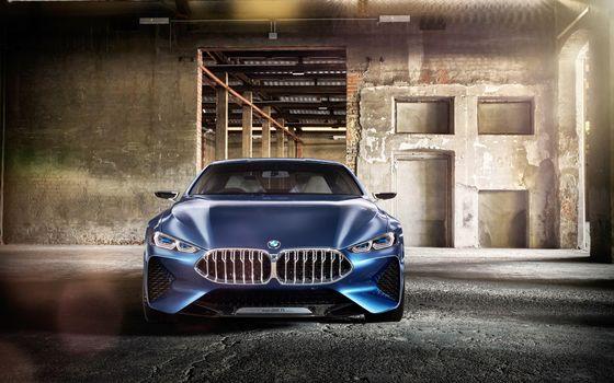 BMW, Концепция BMW 8-Series, 2017, BMW, концепт-кар, помещение, стена кирпичная, пустота, бетонный пол, свет
