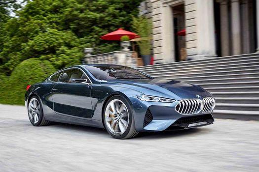 BMW, Концепция BMW 8-Series, 2017, BMW, концепт-кар, здание, лестница, движение, кусты, деревья