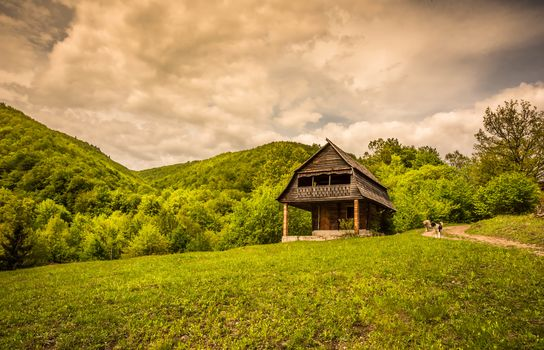 the mountains, hills, lodge, path, trees, landscape