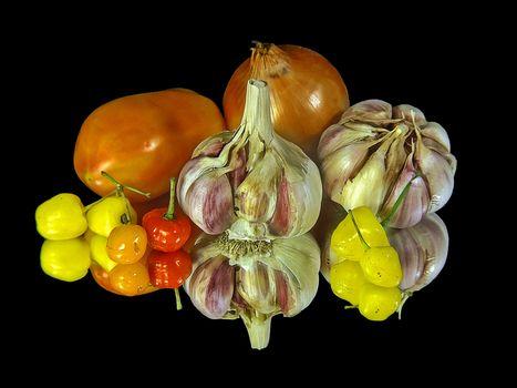 garlic, pepper, bow, food