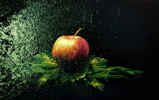 An Apple, fruit, food, dessert, spray
