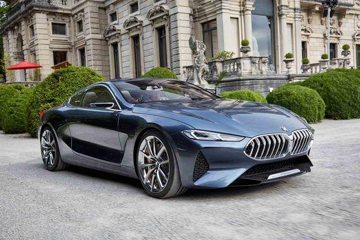 BMW, Концепция BMW 8-Series, 2017, BMW, концепт-кар, особняк, статуя, кусты, зелень