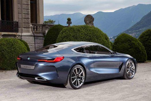 BMW, Концепция BMW 8-Series, 2017, BMW, концепт-кар, здание, кусты, горы, пейзаж, дорога