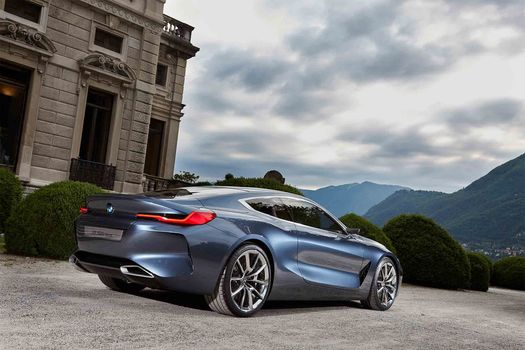 BMW, Концепция BMW 8-Series, 2017, BMW, концепт-кар, здание, кусты, небо, горы