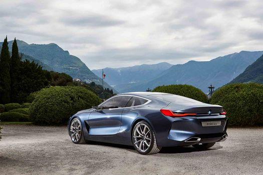 BMW, Концепция BMW 8-Series, 2017, BMW, концепт-кар, пейзаж, растительность, горы, кустарник, деревья, вид сбоку сзади, облака