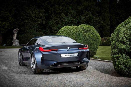 BMW, Концепция BMW 8-Series, 2017, BMW, концепт-кар, кустарник, зелень, растительность, деревья, статуя, газон, асфальт