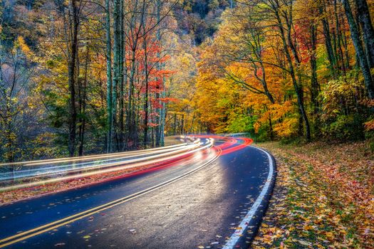 Smoky Mountains National Park, Gray Smoki Mauntins Park, Tennessee, autumn, road, forest, trees, landscape