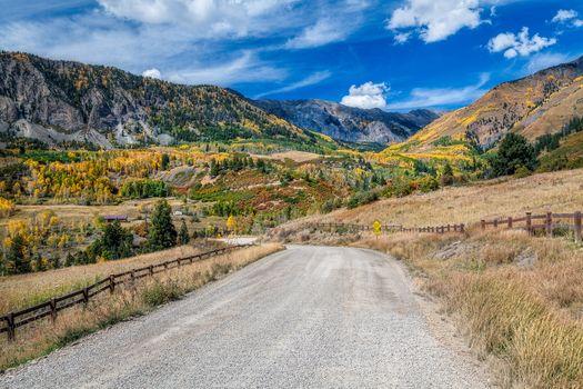 San Juan Mountains, Colorado, autumn, the mountains, trees, forest, landscape, road