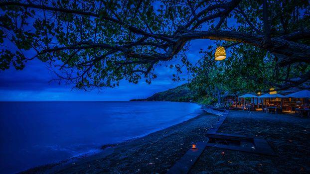 Bali, night, sea, Coast, beach, lamp, landscape