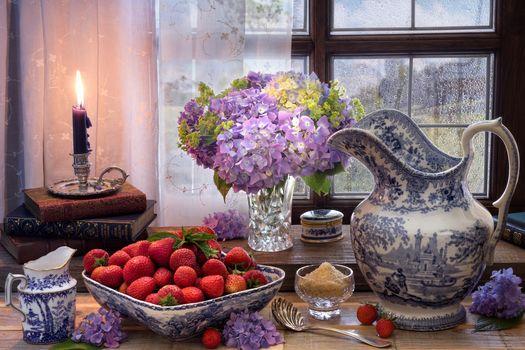 Strawberry, vase, flowers, candle, still life