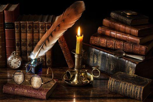 стол, книги, очки, свеча, перо, натюрморт